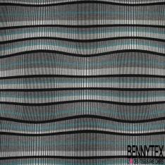 Maille Jacquard Motif rayure bleu azur blanc et gris chiné Fond noir