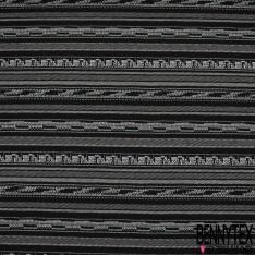 Maille Jacquard Motif rayure blanc cassé et bleu clair LUREX Fond noir