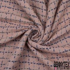 Coton Natté Imprimé Carreaux Double Face vieux rose bleu marine et noir et blanc
