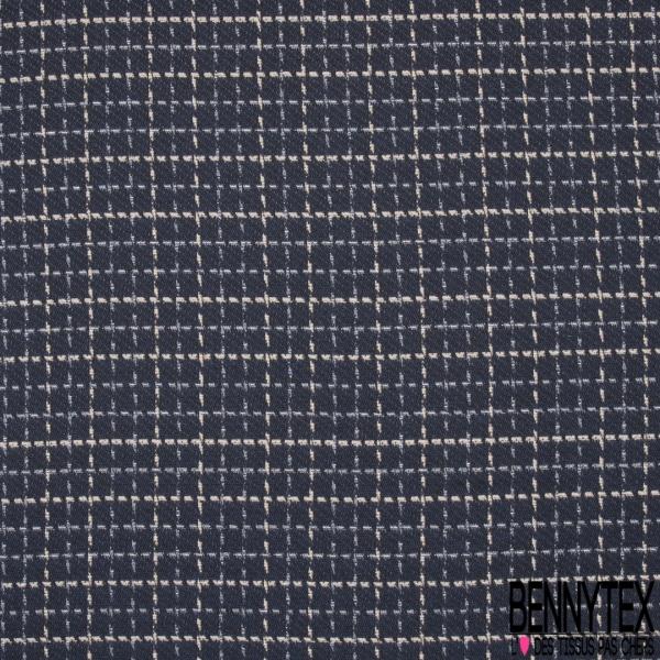 Coton Natté Imprimé Carreaux Double Face rose pâle bleu marine et taupe