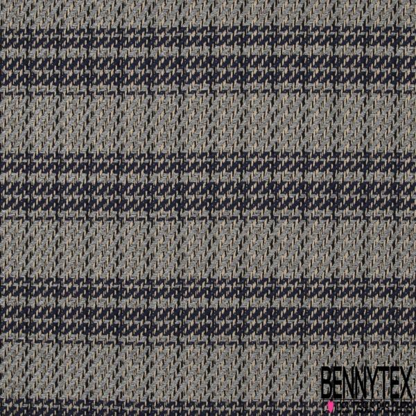 Coton Natté Imprimé Carreaux effet Sergé bleu marine gris anthracite et noir