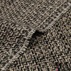 Coton Natté Imprimé Carreaux effet petit Chevron taupe et noir