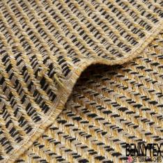 Coton Natté Imprimé Carreaux effet Sergé beige or et noir