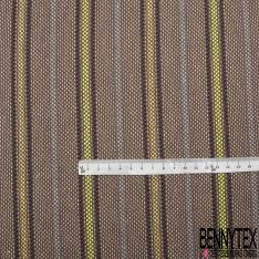 Coton Natté Imprimé Rayures marron bleu marine jaune fluo et jaune pâle