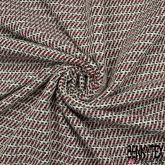 Coton Natté Imprimé ZigZag noir gris anthracite rouge écru et beige