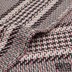 Coton Natté Imprimé Bandes rouge blanc cassé noir et bleu marine
