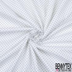 Popeline Coton Imprimé Motif pois gris anthracite Fond blanc