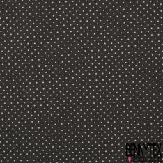 Popeline Coton Imprimé Motif pois blanc Fond gris anthracite