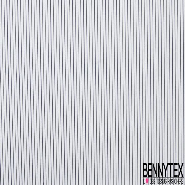 Popeline Coton Imprimé Motif rayure bleu marine Fond blanc