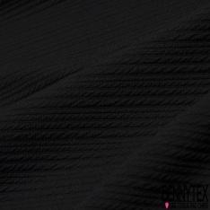 Maille 3D Gaufrée à Motif Rayé Ton sur Ton noir