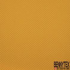 Maille 3D Gaufrée à Motif petit Carré Ton sur Ton moutarde