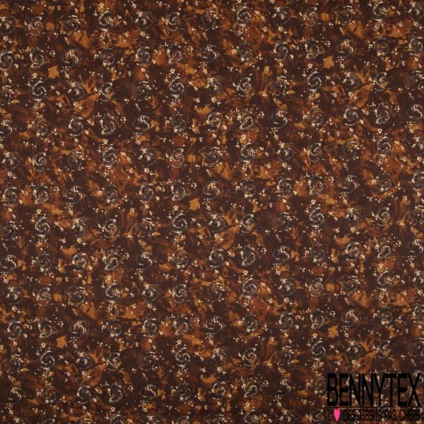 Coupon 3m Carré de Satin de Soie N°214: Motif Multitude de spiral gris anthracite Fond marron et camel