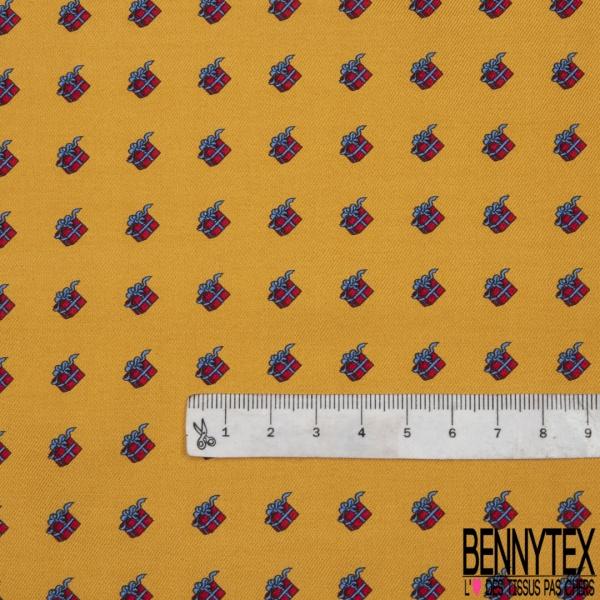 Coupon 3m Carré de Twill de Soie N°217: Motif cadeaux rouge et bleu Fond moutarde
