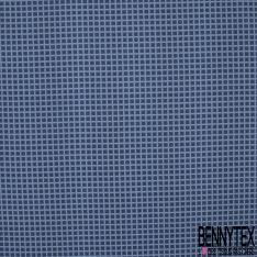 Coupon 3m Carré de Twill de Soie N°218: Motif quadrillé bleu clair Fond bleu marine a pois blanc