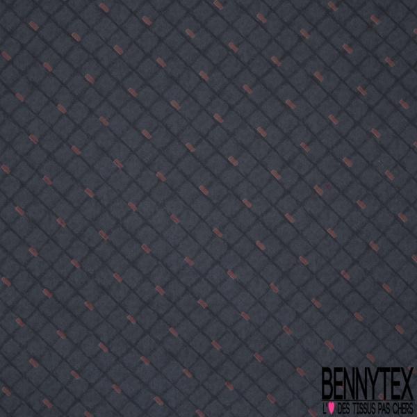 Coupon 3m Carré de Twill de Soie N°220: Motif trait bordeaux et carreaux Fond jean
