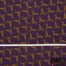 Coupon 3m Carré de Twill de Soie N°223: Motif oiseau ocre Fond violet