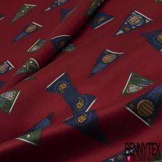 Coupon 3m Carré de Twill de Soie N°228: Motif drapeau rugby Fond bordeaux