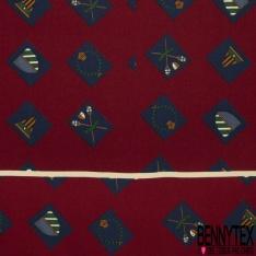 Coupon 3m Carré de Twill de Soie N°231: Motif carré avec écusson Fond bordeaux