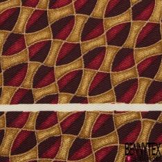 Coupon 3m Carré de Twill de Soie N°238: Motif triangle fantaisie bordeaux et aubergine Fond ocre