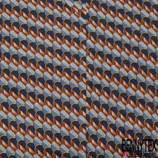 Coupon 3m Carré de Twill de Soie N°240: Motif fantaisie chaise ton de bleu et terracotta