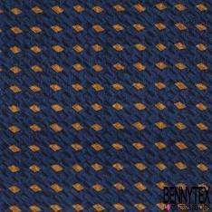 Coupon 3m Carré de Satin de Soie N°242: Motif rectangle ocre Fond bleu roi et noir