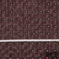 Coupon 3m Carré de Satin de Soie N°243: Motif fleur beige Fond carré rayé prune
