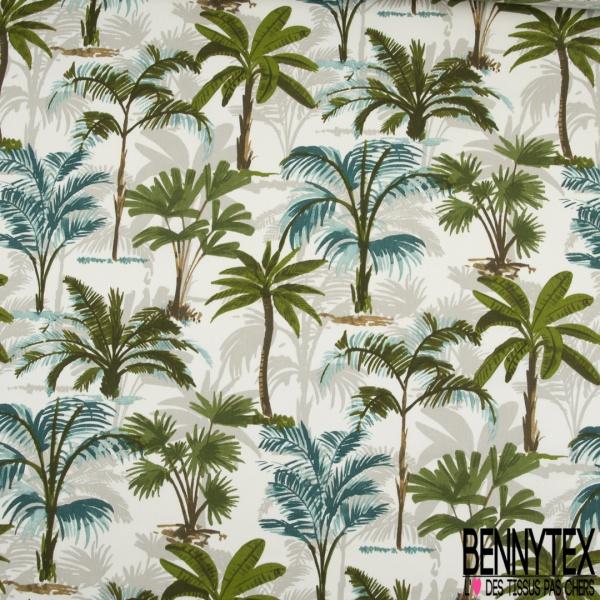 Toile de Coton Imprimé Motif tropical vert gris et émeraude