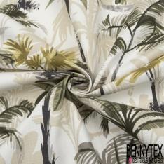 Toile de Coton Imprimé Motif tropical vert gris et beige Fond blanc