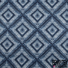 Toile de Coton Imprimé Motif Losange ton bleu