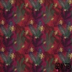 Coton demi natté imprimé digital Motif grandes feuilles vert et violet et flocon de neige or Fond lie de vin