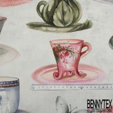 Gabardine Coton Motif grande tasse de thé multicolore Fond bleu clair effet délavé
