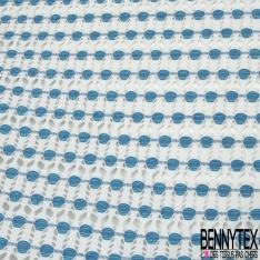 Maille Jacquard Motif géometrique abstrait bleu clair Fond blanc