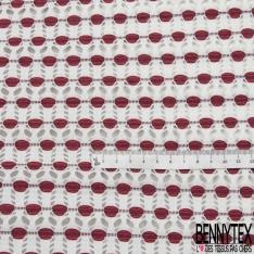 Maille Jacquard Motif géometrique abstrait corail Fond blanc