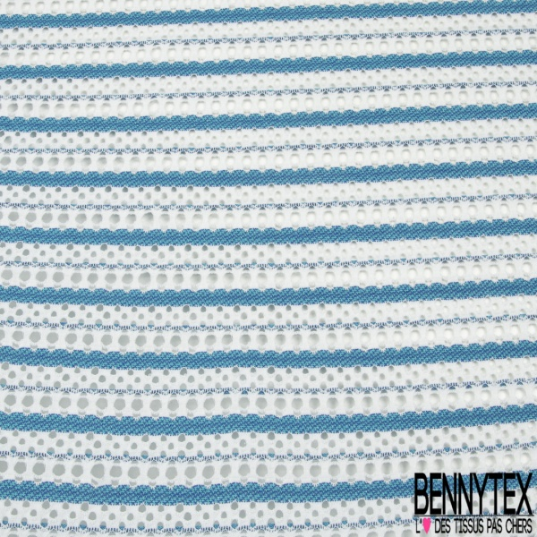 Maille Jacquard Motif rayure abstrait bleu Fond blanc