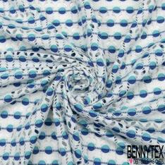 Maille Jacquard Motif rond bicolore bleu azur et roi LUREX Fond blanc