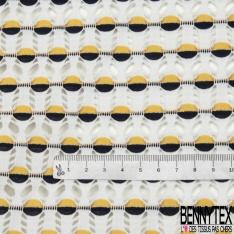 Maille Jacquard Motif rond bicolore jaune et noir LUREX Fond blanc