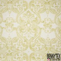 Coton Enduit Impression Fleur fantaisie jaune anis