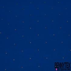 Crêpe Viscose Imprimé motif pois noir argent Fond bleu électrique