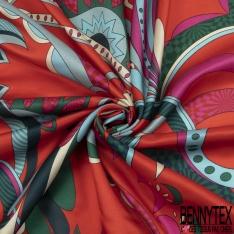 Satin de Coton de Soie Imprimé Motif fantaisie multicolore Fond corail