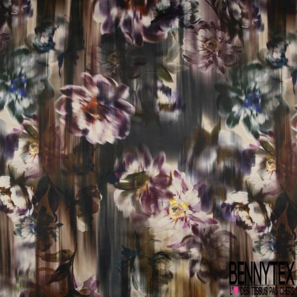 Satin de Coton de Soie Imprimé Motif fleur ton violet Fond dégradé multicolore