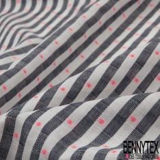 Coton imprimé Motif rayure blanc et noir chiné et pois rose fluo