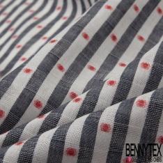 Coton imprimé Motif rayure blanc et noir chiné et pois corail
