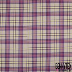 Coton imprimé Motif carreaux violet rose bonbon et jaune fluo Fond beige