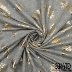 Jersey Coton Elastahanne Imprimé pois et plume d'or Fond gris chiné