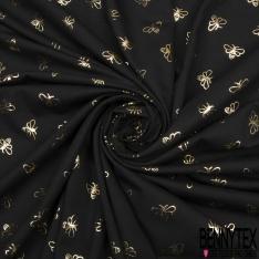 Jersey Coton Elastahanne Imprimé abeille dorée Fond noir