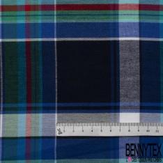 Fibrane Viscose Imprimé Motif carreaux vert sapin bleu turquoise et rouge