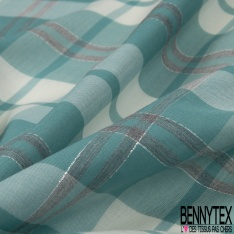 Coton imprimé Motif écossais aqua et ivoire LUREX