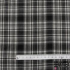 Coton imprimé Motif prince de galles blanc et noir