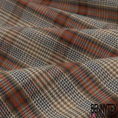Coton imprimé Motif prince de galles orange gris beige et écru