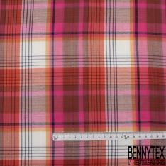 Gaze de Coton Imprimé Motif carreaux multicolore ton rose et rouge